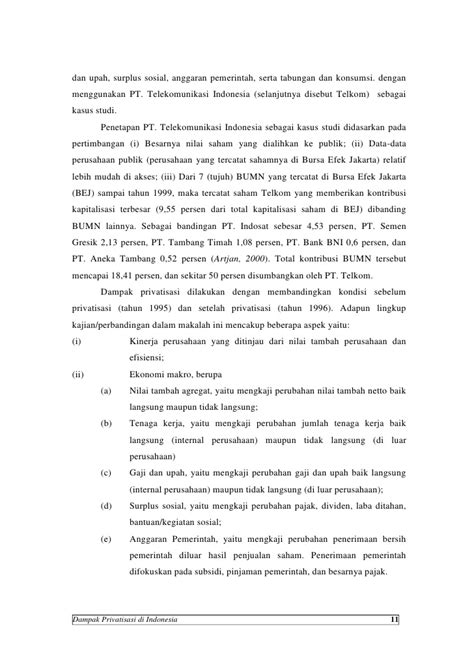 Dampak privatisasi di Indonesia. Studi Kasus Privatisasi