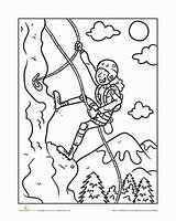 Climbing Coloring Mountain Worksheet Sheet Worksheets Pages Sheets Education Activities Rock Climber Clipart Sport Bergsteiger Mountains Climbers Sports Template Lesson sketch template
