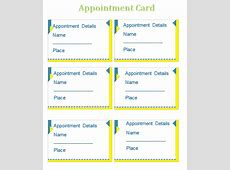 Appointment Card Template Templates for Microsoft® Word
