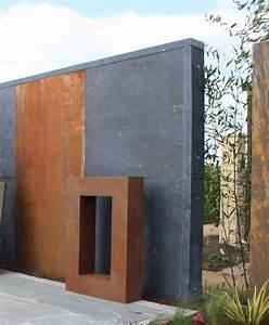 Stahl Wand Sichtschutz Trennwand Moderner Garten Rost