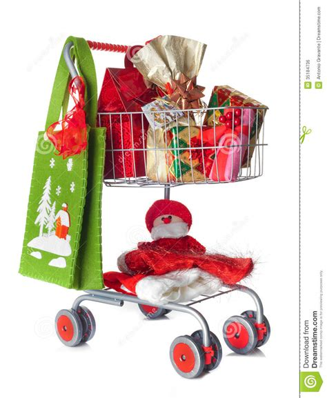 shopping cart full of christmas gifts royalty free stock