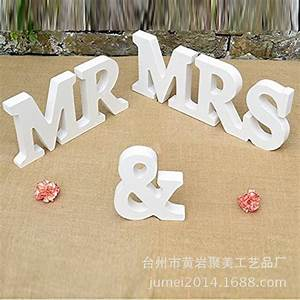 1set 250g large wooden letter white mr mrs wedding With mr and mrs large wooden letters
