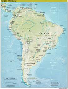 Physical Map of the Continent of South America
