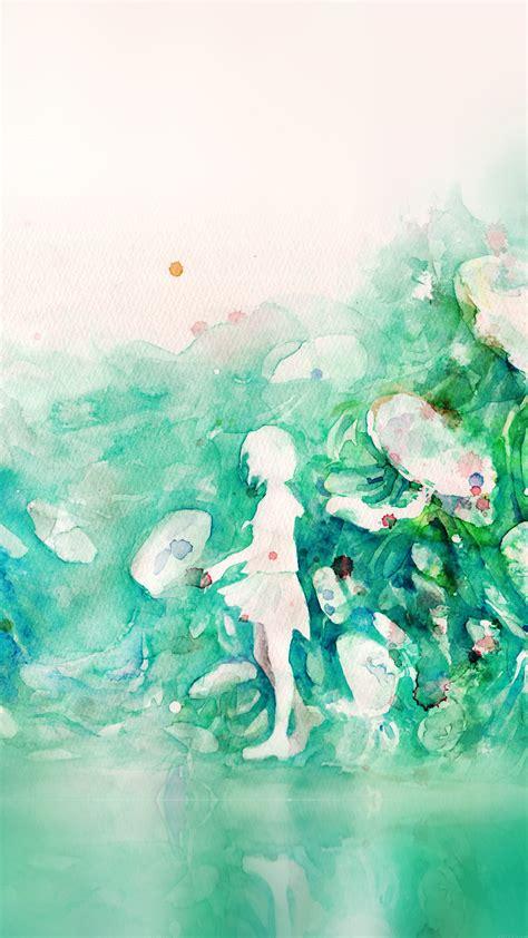 Bare tree painting, watercolor, artwork, warm. ai07-watercolor-green-girl-nature-art-illust-wallpaper