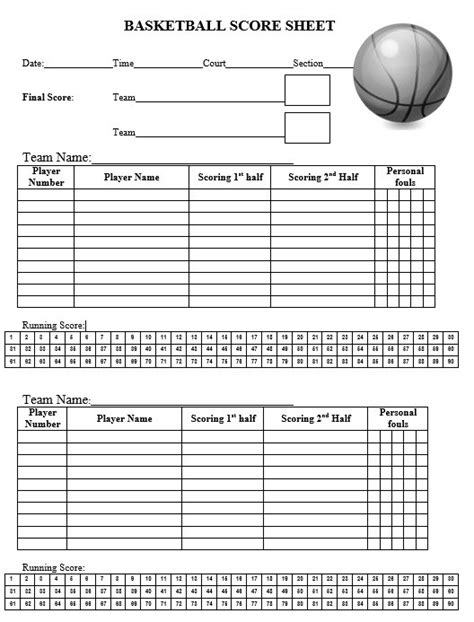 8 free sle basketball score sheet sles printable