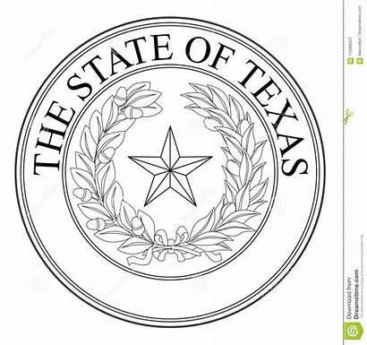 Seal Texas State Vector Line Drawing Background