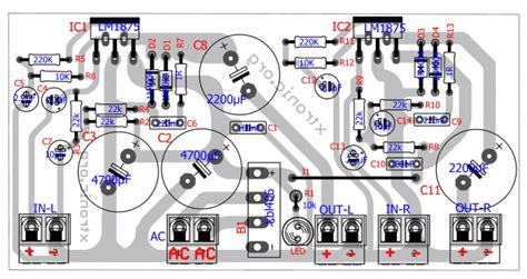 circuit power amplifier stereo audio  lm