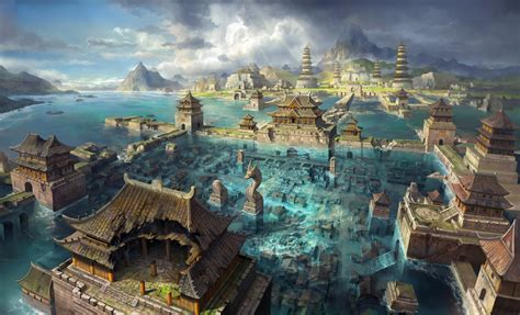 fantasy water city asia city flooding art water