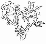 Coloring Roses Pages Hearts Rose Printable Heart Tattoo Thorn Sharp Adults Crosses Adult Cross Thorns Drawing Colorluna Colouring Broken Tattoos sketch template