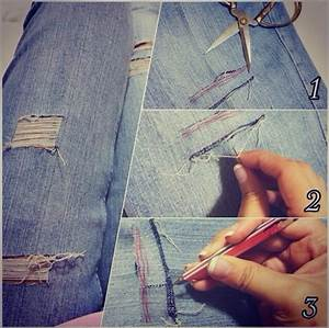 1) Prepare your scissors needle tweezers and your ready-to-be-ripped jeans.2) Cut the part you ...