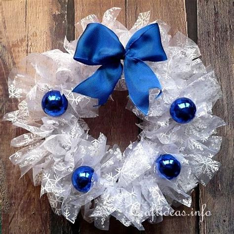 christmas craft white wreath  blue embellishments