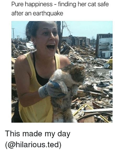 Earthquake Meme - pure happiness finding her cat safe after an earthquake this made my day funny meme on me me