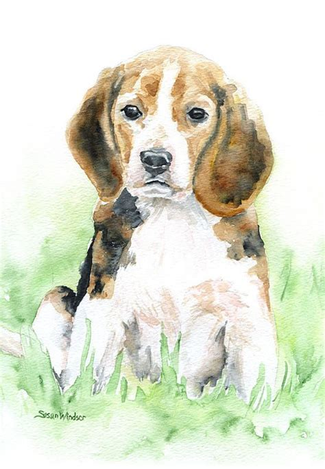 beagle watercolor giclee reproduction portraitvertical