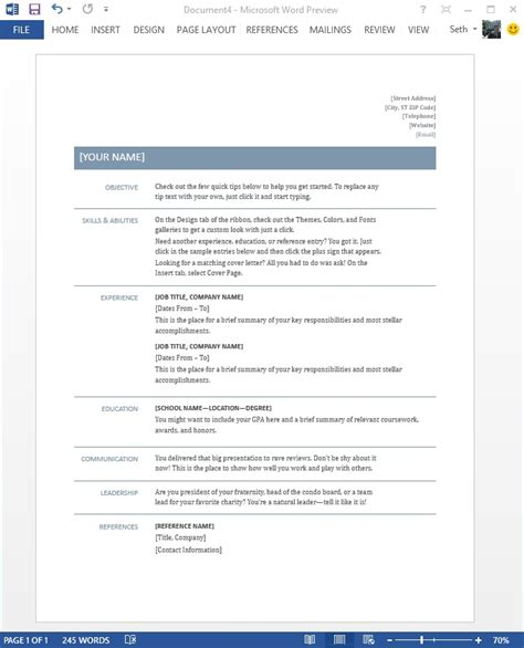 Windows Resume Templates by Starting Right Templates And Built In Content In The