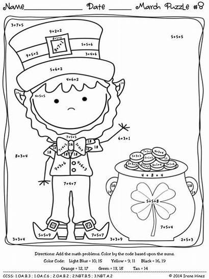 March Math Puzzles Coloring Facts Fact Sheets