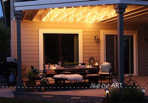 hanging globe lights   patio dining area