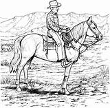 Cowboy Coloring Rodeo Adults Horse Horses sketch template