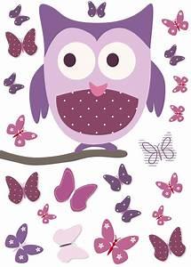 Sticker chouette sur son arbre et papillons rose et mauve pour chambre bébé fille