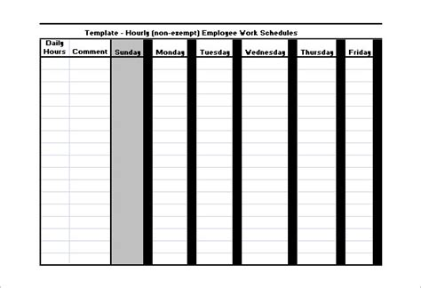 Hourly Work Schedule Template by Employee Work Schedule Template 16 Free Word Excel