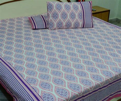 cotton printed jaipur king size bed sheet with pillow