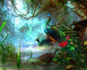 exotic, birds, peacock, artistic, paintings, on, canvas, best, hd