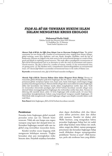 Fiqh al bî'ah tawaran hukum islam dalam mengatasi krisis