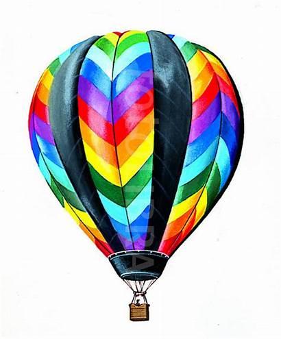 Air Balloon Colourful Illustration Balloons Rainbow Colorful