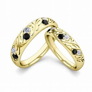 his and hers matching wedding band in 14k gold black diamond With black gold wedding rings his and hers