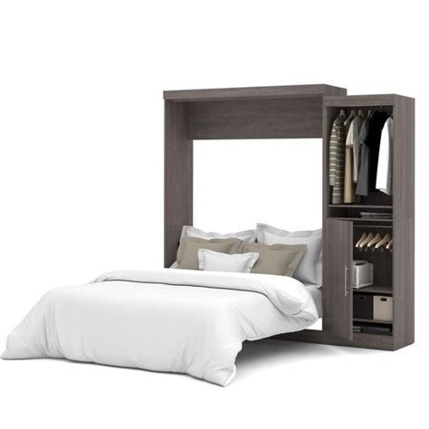 bark beds bestar nebula 90 quot queen wall bed kit in bark grey 25880 47