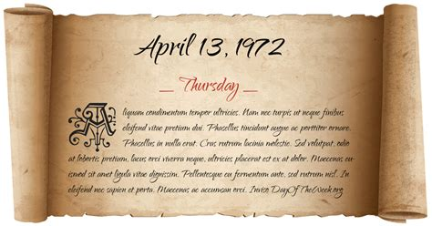What Day Of The Week Was April 13, 1972?
