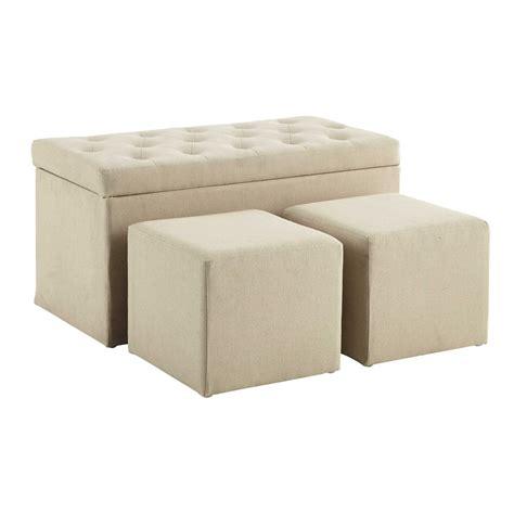 maison du monde coffre coffre banc 2 poufs en coton beige l 79 cm marceau