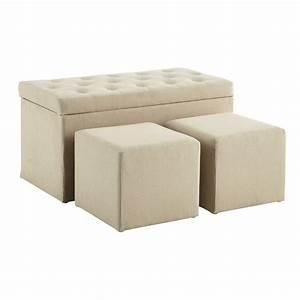 Banc Coffre Maison Du Monde : coffre banc 2 poufs en coton beige l 79 cm marceau ~ Premium-room.com Idées de Décoration