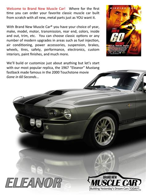 Eleanor Brochure Page 2, Eleanor Mustang Replica, Builder