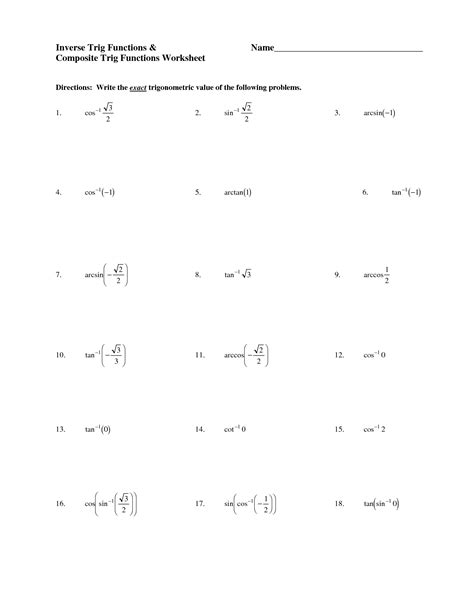 worksheet inverse trigonometric functions worksheet