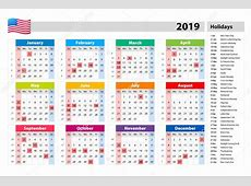 Editable Public Holidays 2019 Calendar with USA, UK, UAE
