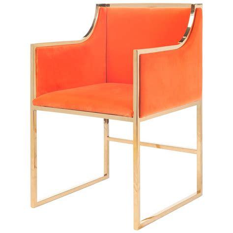 regency orange velvet brass frame