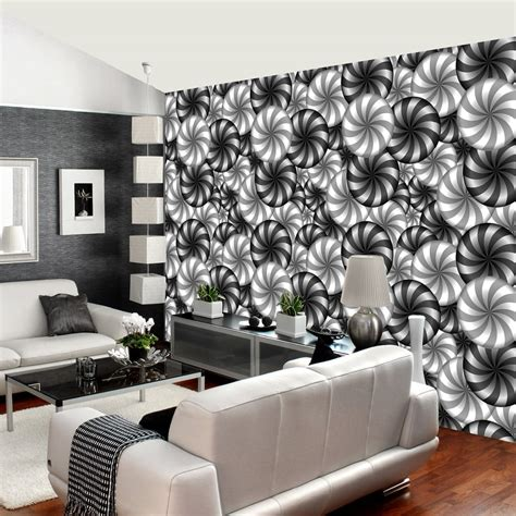rainbow circle pattern wall mural  effect black white