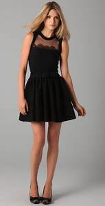 Red valentino Sleeveless Knit Dress with Lace in Black   Lyst