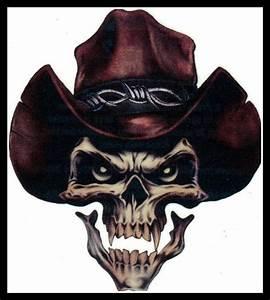Big gothic cowboy sheriff outlaw evil skull temporary ...