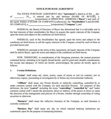 stock purchase agreement template 9 stock purchase agreement sles sle templates