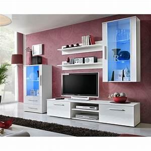 Meuble Tv 250 Cm : ensemble meuble tv design galino viii 250cm blanc brillant ~ Teatrodelosmanantiales.com Idées de Décoration