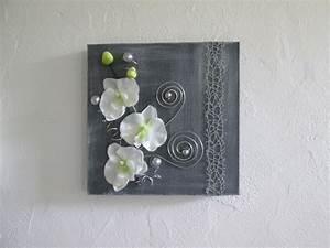 tableau 3d avec fleurs artificielles orchidee blanche With chambre bébé design avec tableau fleurs blanches