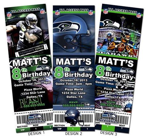 seattle seahawks nfl custom party ticket invitations