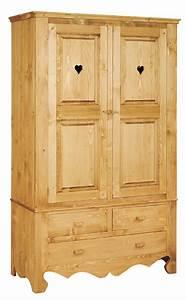 Armoire Pin Massif : armoire en pin massif 2 portes 2 tiroirs chamonix le ~ Dode.kayakingforconservation.com Idées de Décoration