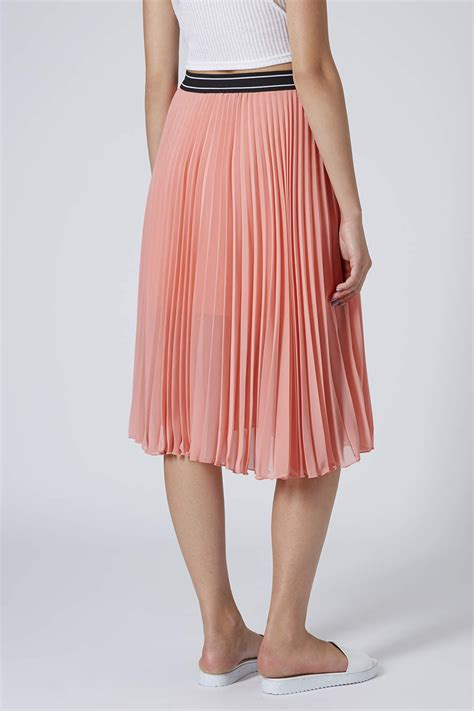 Topshop Womens Tall Pleated Midi Skirt Rose In Pink Lyst