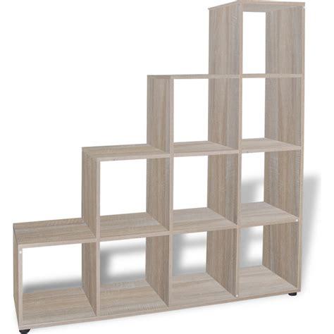 oak cube bookcase 10 cube staircase storage shelf bookcase in oak buy