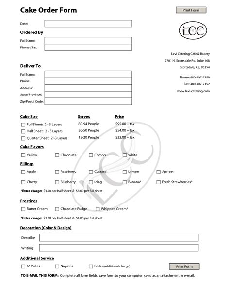 cake order form template cake order forms on contact form templates free and cake