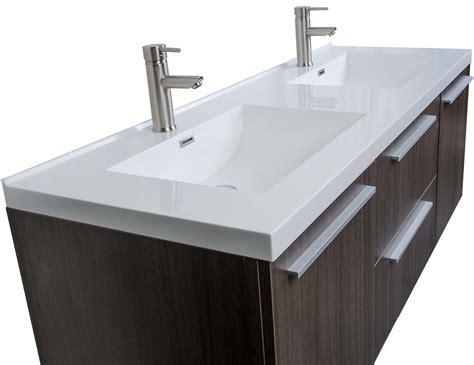 Buy 59 Inch Wall Mounted Modern Double Vanity in Grey Oak