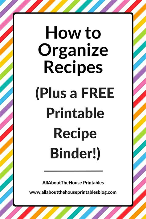 organize recipes    printable recipe
