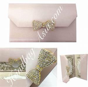 Blush Pink Silk Covered Invitation Folio With Golden